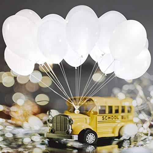 Palloncino luminoso con luce a LED, decorazione per matrimoni, 20 pezzi, oltre 24 ore, 30 cm, durata luminosa compleanni, feste di compleanno bambini, Happy Birthday (bianco interruttore)