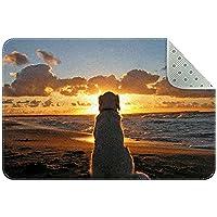 サンセットビーチ犬 装飾的な敷物の居間の長方形の敷物の女の子の敷物ヨガの敷物洗える居間の敷物