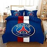 NNKI Ropa de cama azul 200 x 200 PSG, juego de ropa de cama de fútbol Francia, Paris Saint Germain, estampado unilateral, muy suave, cómoda para dormir, microfibra, funda nórdica de 135 x 200 cm
