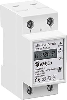 eMylo Medidor de energía Wifi inteligente Medidor de electricidad de riel DIN de 35mm monofásico 60A 90-250V Medidor eléct...