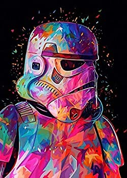 PANACARE 5D Diamond Painting DIY Star Wars Diamond Painting Art Kits for Adults Full Drill Round Diamond Gem Art Kit Painting Perfect for Home Wall Decor Canvas Size  11.8 x 15.7inch   SW1