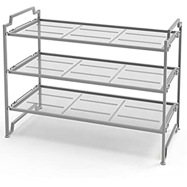 3-Tier Stackable Shoe Shelves Storage Utility Rack, Silver