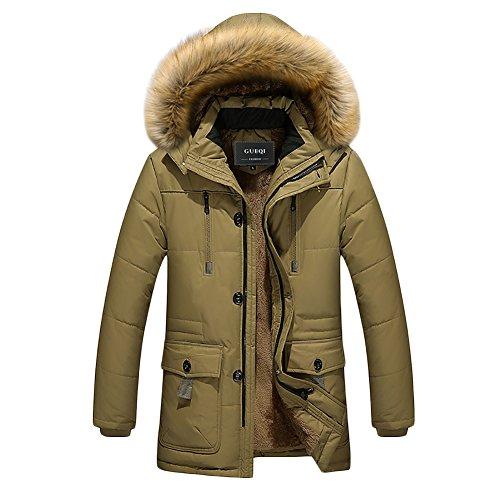 Icegrey Doudoune Homme Manches Longues Manteau à Capuche Amovible avec Bord en Fausse Fourrurre Amovible pour l'hiver Motos Parka Kaki FR 44