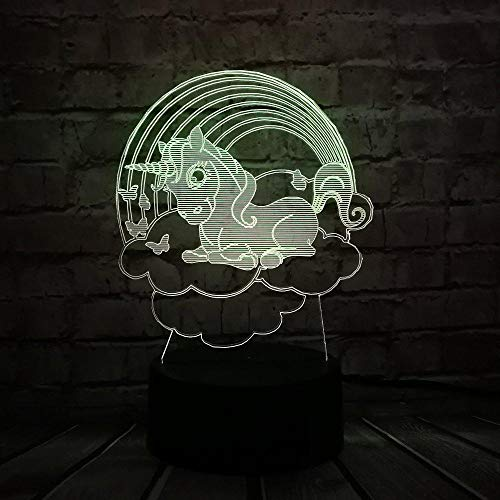 3D Illusion Night Light bluetooth smart Control 7&16M Color Mobile App Led Vision Cloud Unicorn Kawaii Kid Decoration Home Bulb Batter Toys Table Unique colorful Creative gift