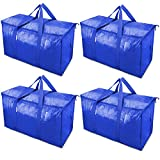 TICONN 4 Pack Extra Large Moving Bags with Zippers & Carrying Handles, Heavy-Duty Storage Tote for Space Saving Moving Storage (Blue)