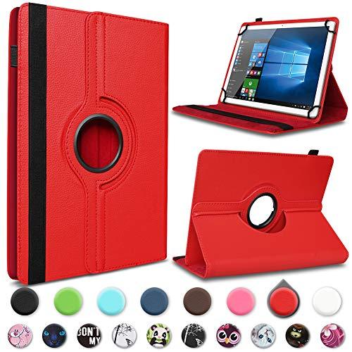 UC-Express Tablet Hülle kompatibel für Telekom Puls Tasche Schutzhülle Case Schutz Cover 360° Drehbar, Farben:Rot