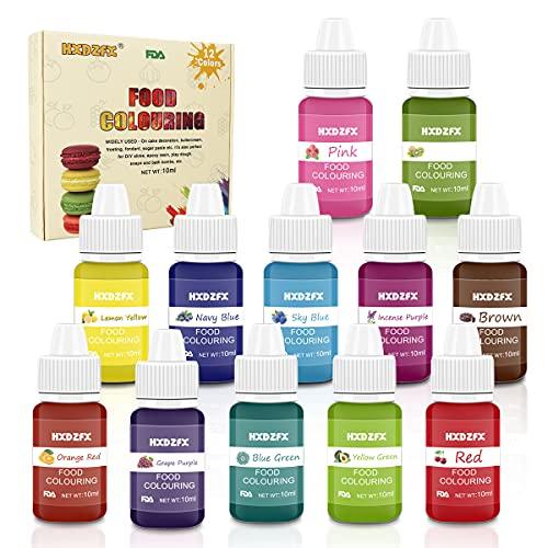 Colorante alimentario 12*10ml, Colorante Alimentario Alta Concentración Liquid Set para Colorear los Bebidas Pasteles Galletas Macaron Fondant