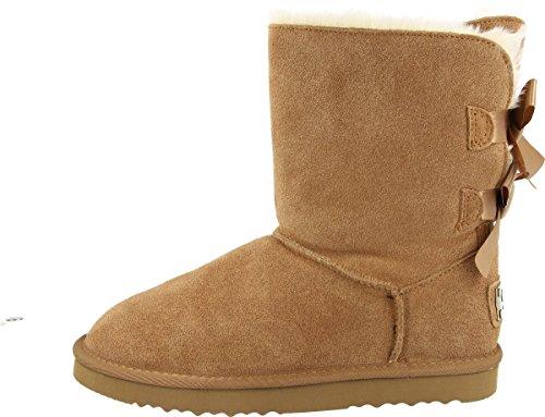 OOG Damen Leder Schlupfstiefel | warme gefütterte Double-Bow-Boots `Short´ Stiefeletten | Winter-Schneestiefel mit Zwei Schleifen (Camel, 37)