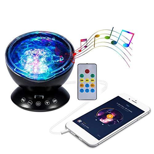 Sutinna Proiettore a LED Ocean Wave con Telecomando, Luce Notturna a 7 Colori con Lettore Musicale per la Decorazione della Camera da Letto per Adulti