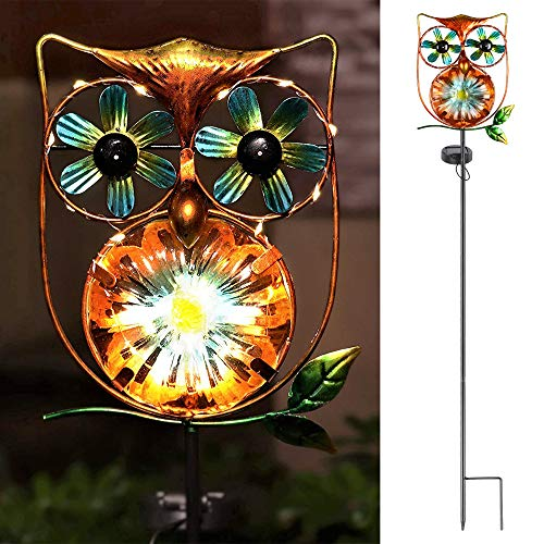 LeiDrail Solar Garden Light Outdoor Decorative Stake Owl Wind Spinner Metal Pathway Lights Solar Powered Yard Decor Waterproof Warm White Landscape Lighting for Lawn Patio Walkway