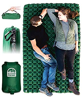 In Your Prime Double Sleeping Pad for camping & backpacking, camping mat for tent, hiking, truck or beach- Fast inflatable portable mattress + paracord bracelet, pump sack & carabiner!