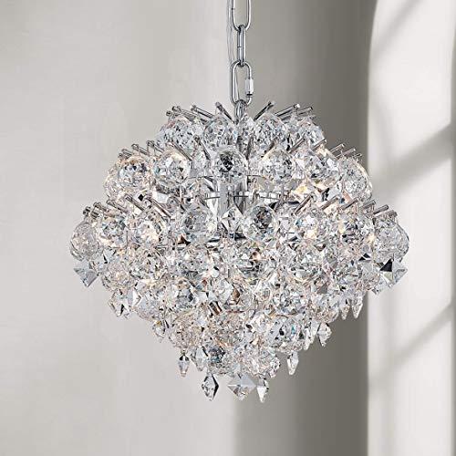 Bestier Colgante moderno Araña de cristal Gota de lluvia Iluminación Lámpara de techo Lámpara para el comedor Cuarto de baño Dormitorio Sala de estar 4 Bombas G9 requeridas D28cm x H30cm