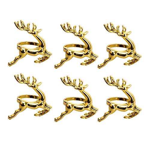 Poitemsic (Set of 6) Gold Reindeer Dinner Napkin Rings for Christmas Lunch Dinner Party Tableware Napkin Set Christmas Decorations Napkin Holder