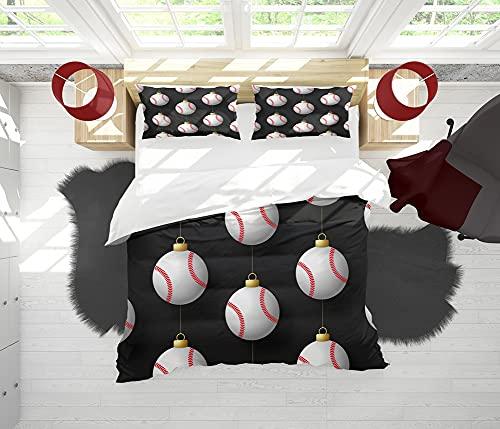 SAIAOS Funda nórdica,Bola Colgante Creativa de la decoración de la Navidad del Estilo del béisbolsuave Dormitorio de Hotel Lujo Juego de Cama de 3 Piezas con 2 Fundas de Almohada