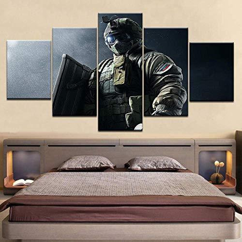 Muurkunst schilderij foto's 5 stuks schilderij Rainbow Six Surrounding Sound Line aansteker poster canvasdruk op voor woonkamer slaapkamer hoofddecoratie