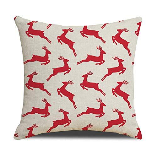 Jiaquhome Plaids Cushion Covers Red Green Lattice Linen Pillow Cover Geometric Christmas Decorative Pillows 2pc