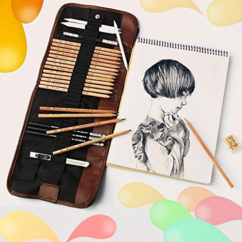for Office&School WR Anfänger Skizzierungswerkzeuge (18 PCS Sketching Stift + Charcoal Pencil + Eraser + Pen Vorhang + Art Knife) Skizzierung Set (Schwarz) (Farbe : Black)