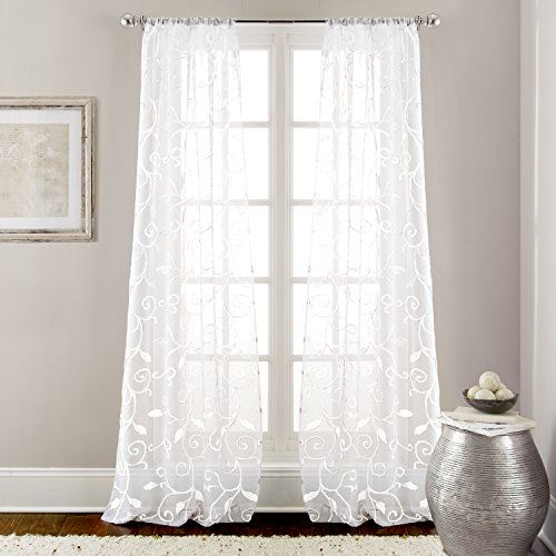 Amrapur Overseas 2 Pack 37 x 84 inch Embroidered Sheet Panel Curtains, Standard, White