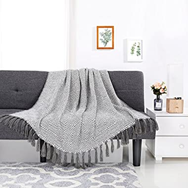 LANGRIA Cotton Geometrical Pattern Blanket Throw with Tassels For Chair, Couch, Picnic, Camping, Beach, Everyday Use, Easy Care Machine Washable Blanket (50 x60 , Dark Green)