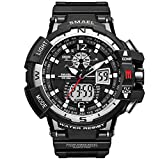 Analogue Digital Watch Military Sport Watch Mens Dual Dial Business Casual Multifunction Electronic Wrist Watches Resistant Wristwatch (Black)