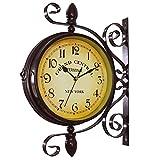 壁掛け時計 アンティーク 風 ニューヨーク クロック オールドストリート レトロ 壁掛け 時計 インテリア エクステリア 雑貨 両面時計 (ブラウン)