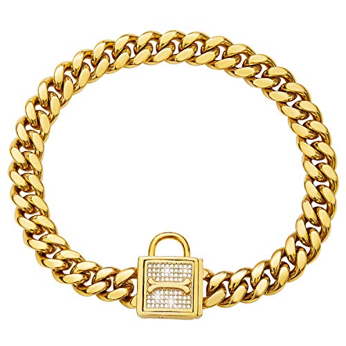 Chain Dog Collar with Zirconia Locking 12mm 18K Gold Cuban Link Chain Metal Stainless Steel Training Walking Puppy Collar Luxury Dog Bling Necklace.(12mm, 16')