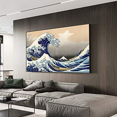 ZYHFBHFBH La Gran Ola de Kanagawa Pinturas en Lienzo Famosos japoneses Impresiones en Lienzo Reproducciones Olas Cuadros de Pared 20x35cm (7