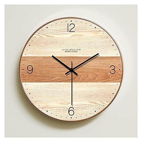 Reloj de Pared Moderno Estilo Europeo de Madera Creativa Grano de Grano de Mudo Reloj de Pared, Sala de Estar Elegante Sala de Cuarzo Reloj de Cuarzo Reloj de Pared