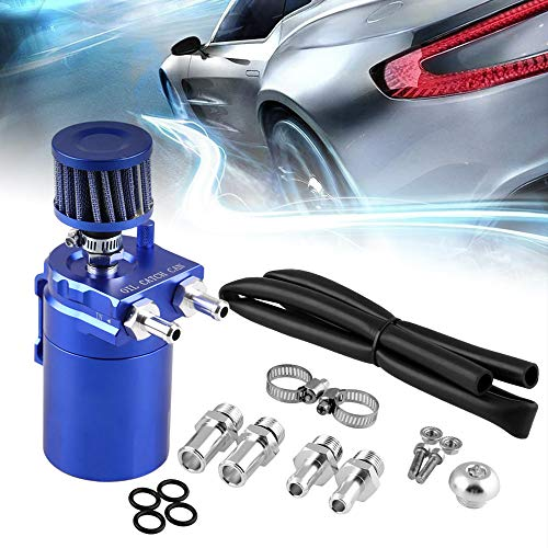 RuienUniversal 400ml Oil Catch Can Tank with Breather Aluminum Compact Dual Cylinder Polish Baffled Engine Air Oil Separator Tank Reservoir Kit Blue