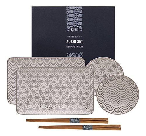 Tokyo Studio de Design, Nippon Platinum Limited Edition, Platine, Set à Sushi, 6 pièces. 2 Assiettes à Sushi, 2 Bols à Sauce, 2 Paires de Baguettes en Bois. Service à Sushi en Porcelaine.
