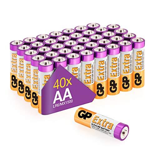 GP Extra Alkaline Batterien AA Longlife (1,5V) 40 Stück Mignon Batterien R6 Vorrats-Pack, ideal für die Stromversorgung von Geräten des täglichen Bedarfs (briefkasten-geeignete Verpackung)