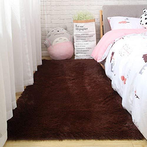 SDAFSA Plüsch Teppich Langhaariger Schlafzimmerfrontteppich Raumdekoration Decke Wohnzimmerteppich Nordische Tischmatte Verdickung Weicher Hautfreundlicher Teppich-7_50 X 80 cm