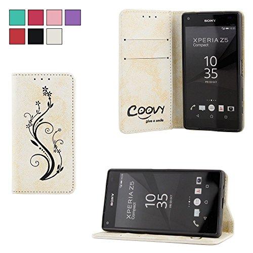 COOVY® Cover für Sony Xperia Z5 Compact Hülle Wallet Schutz Etui mit Kartenfach, Standfunktion + Schutzfolie - Design Blume | Farbe Weiss