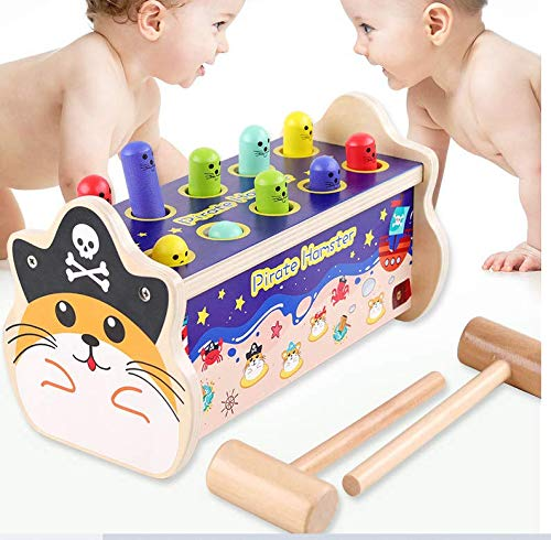 Groundhog Pounding Bench Game Pirate Theme Hammering Pounding Toys Kids Hammer & Pound Toy Pounding Game for Single and Double Kids Early Montessori Educational Tool Gift for Kids Girls Boys Age 3+