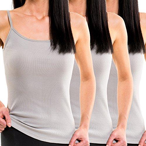 HERMKO 1560 3er Pack Damen Träger Top aus 100% Bio-Baumwolle, Farbe:grau, Größe:40/42 (M)