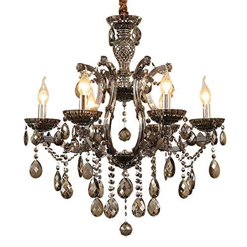 Vintage Lampadario Cristallo Decorativo Lampada da Soffitto Interno Cucina Candela Lampada a Sospensione Grigio Fumo 8 Luci