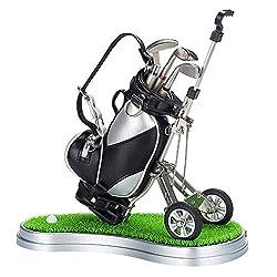 Forart Golf Pens with Golf Bag Holder, Desktop Golf Bag Pens Holder with Clock and 3 Pens Desk Golf Bag Pencil Holder Golf Gift Set for Golfer Fans Coworker