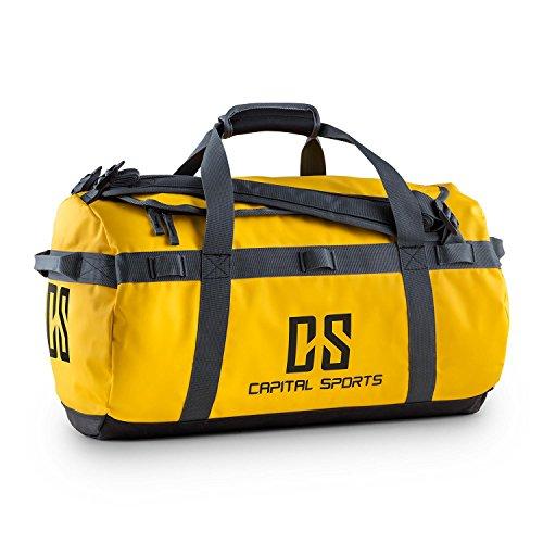 CAPITAL SPORTS Journ S - Sporttasche, Umhängetasche, Rucksack, 45 L, wasserabweisend, Reißverschluss, überlappende Verschlusslasche, Trageriemen, Schultergurte, widerstandsfähig, gelb
