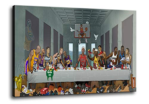 The Last Supper NBA Basketball Player Wall Art Jordan O'Neill James Durant Kobe Bryant Posters Modern Home Decor Canvas Painting HD Pictures Print Stretched and Framed Ready to Hang [18''W x 12''H]