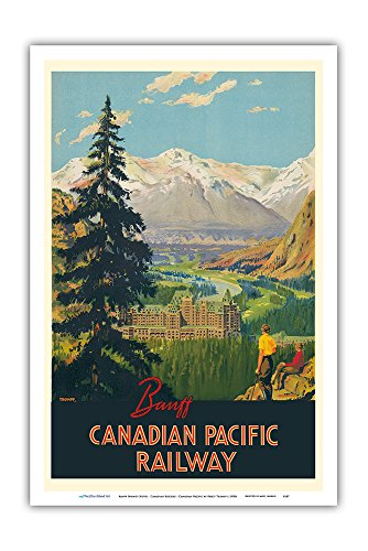 バンフスプリングスホテル - カナディアンロッキー - カナダ太平洋鉄道会社 - ビンテージな鉄道旅行のポスター によって作成された パーシー・トロンプフ c.1930s - アートポスター - 31cm x 46cm