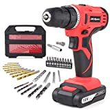 Hi-Spec 18V Pro Cordless Combo Drill Driver with 1500 mAh Lithium-Ion Battery, 2 Gears, 19 Position Keyless Chuck, Variable Speed Switch & 30pc Drill and Screwdriver Bit Accessory Set