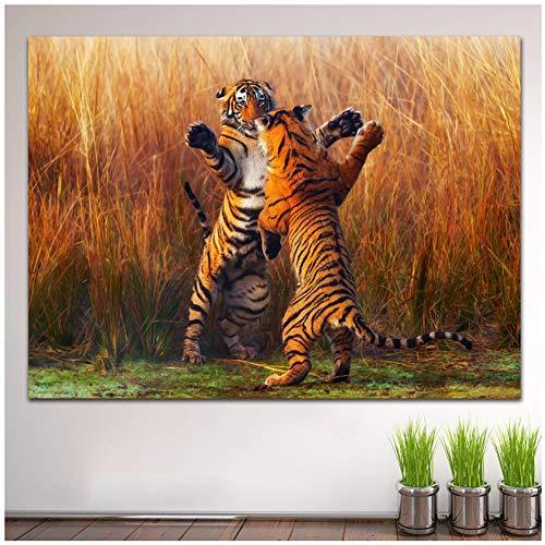 Olieverfschilderij Tijgers Twee Fight Wall Art Home Decor Woonkamer Moderne Canvas Schilderijen -60x80 cm / 23.6