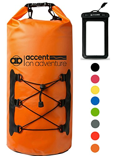Premium Certified Waterproof Dry Bag Compression Sack Waterproof Phone Case | Roll Top Closure 2 Detachable Shoulder Straps | Kayaking, Snowboarding, Rafting, Boating, Hiking, Camping, Beach