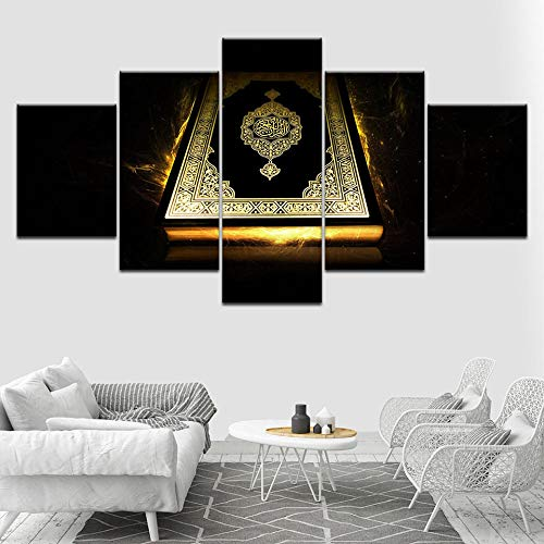 QRTQ canvasdruk 5 panelen 200x100 cm oude bijbel muurkunst canvas decor schilderij kunst schilderij afbeelding van de wanddecoratie voor woonkamer slaapkamer (geen frame)