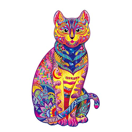 Kaixin Wooden Puzzle Jigsaw, 138 Pieces 3D Wooden Jigsaw Puzzles Toy Animal Shaped Jigsaw Puzzle Cat Puzzle Unique Shape Jigsaw Pieces, Best Gift for Adults and Kids, Ideal for Family Game