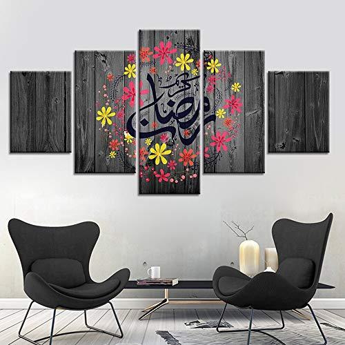 FFFZDCKAY Cuadro en Lienzo 5 Partes Lienzo religioso Pinturas imágenes islámicas Impresiones Cartel decoración del hogar musulmán para Sala de Estar Sin Marco