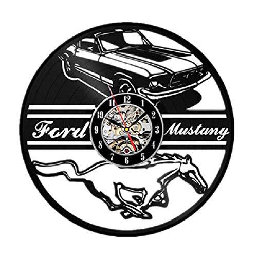 Reloj de pared con disco de vinilo silencioso, decoración de sala de estar de diseño moderno, relojes colgantes con logotipo de coche Con LED