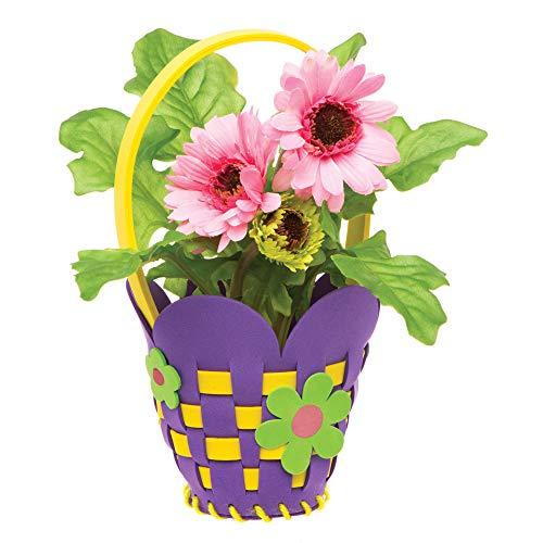 """Baker Ross Flecht-Bastelsets """"Blumenkorb"""" (4 Stück) – Frühlings-Bastelidee für Kinder zum Zusammensetzen und Verzieren"""