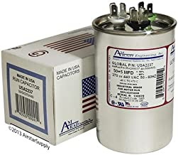 50 + 5 uf / Mfd Round Dual Universal Capacitor • AmRad USA2237 - used for 370 or 440 VAC , Made in the U.S.A.