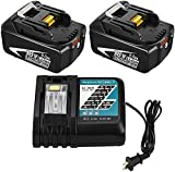 2-Pack 6.0Ah BL1860B Battery + DC18RC Charger Replacement Battery and Charger Compatible with Makita 18V Battery Lithium BL1860 BL1850 BL1850B BL1840B BL1830 BL1830B BL1815 LXT-400